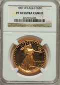 Modern Bullion Coins, 1987-W G$50 One-Ounce Gold Eagle PR70 Ultra Cameo NGC. NGC Census: (1303). PCGS Population (489). Numismedia Wsl. Price fo...
