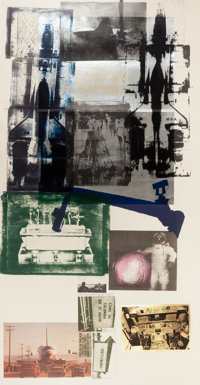 ROBERT RAUSCHENBERG (American, 1925-2008) Hot Shot, 1983 Lithograph in colors with collage 81 x 4