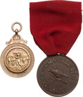 Golf Collectibles:Miscellaneous, 1911-1912 Gold Golf Medal & 1918 Crow Point GC Medal....