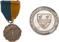 Golf Collectibles:Miscellaneous, 1911 Bronze Medal with Ribbon & 1938 Large Silver Medal....