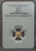California Fractional Gold , 1871 25C Liberty Round 25 Cents, BG-809, Low-R.4, MS66 NGC....