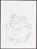 Mainstream Illustration, Daniel Pinkwater. Doodle for Hunger. Ink on paper. 12 x 9in.. ...