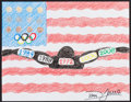 Mainstream Illustration, Dara Torres. Doodle for Hunger. Crayon on paper. 8.25 x 11in.. ...