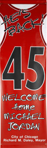Basketball Collectibles:Others, 1995 Michael Jordan Returns Chicago Bulls Street Banner. Displayedproudly in the streets of Chicago in 1995 when Michael J...