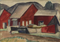 Fine Art - Painting, American:Modern  (1900 1949)  , RICHARD T. LAHAY (American Twentieth century). The Red Barn,DATE. Watercolor on paper. 16 x 21-1/2 inches (40.6 x 54.6 ...