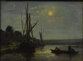 Fine Art - Painting, European:Antique  (Pre 1900), GERMAN SCHOOL (Nineteenth Century). Boats in Moonlight,1855. Oil on canvas. 9-1/2 x 13 inches (24.1 x 33.0 cm). Signed ...