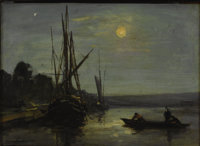 GERMAN SCHOOL (Nineteenth Century) Boats in Moonlight, 1855 Oil on canvas 9-1/2 x 13 inches (24.1