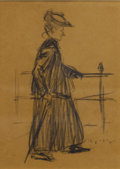 Fine Art - Painting, American:Modern  (1900 1949)  , WILLIAM GLAKENS (American 1870-1938). Figure with anUmbrella. Charcoal on brown paper. 7-1/2 x 5-3/8 inches (19.1 x13....