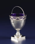Silver Holloware, British:Holloware, A George III Silver and Cobalt Glass Sugar Basket. Walter Tweedie,London, England. 1779-1780. Silver, glass. Marks: (lion... (Total:2 Items)