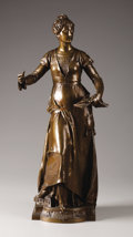 "19th Century European, Melodie. . Eugene Quinton, French (died 1892). 19th century.Bronze. 26"" High. Signed on right side of base: E. Q..."
