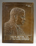 Sculpture, Bronze Relief Portrait of Theodore Roosevelt. . James Earle Fraser. Bronze. Incised: Fraser, 1920 . 13 inches high x 10...