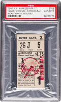 Baseball Collectibles:Tickets, 1951 Mickey Mantle Debut New York Yankees Opening Day Ticket Stub,PSA Authentic....