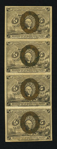 Fractional Currency:Second Issue, Fr. 1232 5¢ Second Issue Vertical Uncut Strip of Four Very Fine.. ...