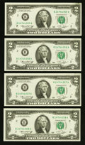 Error Notes:Ink Smears, Fr. 1935-B $2 1976 Federal Reserve Notes. Four ConsecutiveExamples. Choice About Uncirculated-Choice Crisp Uncirculated.. ...(Total: 4 notes)