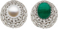 Estate Jewelry:Rings, Emerald, South Sea Cultured Pearl, Diamond, Platinum, Gold Ring,David Webb. ...