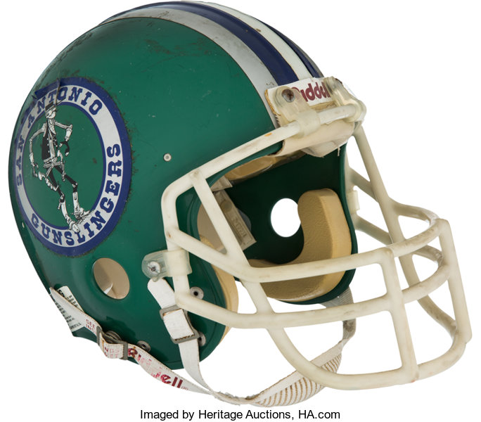 Football Collectibles:Helmets, 1984-85 Rick Neuheisel Game Worn USFL San Antonio GunslingersHelmet....