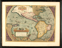 [Maps]. Abraham Ortelius, cartographer (1527-1598). Copper Engraved Map of North America with Hand-Coloring Entitled