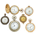 Timepieces:Pocket (post 1900), Four Lady's Pocket Watches & Two Pendants. ... (Total: 6 Items)