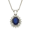Estate Jewelry:Necklaces, Sapphire, Diamond, White Gold Pendant-Necklace. ...