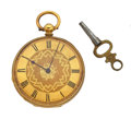 Timepieces:Pocket (pre 1900) , Swiss 18k Gold Cylinder Key Wind Pocket Watch. ...