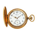 Timepieces:Pocket (pre 1900) , Longines 18k Gold Hunter's Case Pocket Watch. ...