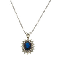 Sapphire, Diamond, White Gold Pendant Necklace