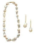 Estate Jewelry:Suites, Baroque Freshwater Cultured Pearl, Gold Jewelry Suite. ...