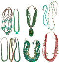 Estate Jewelry:Necklaces, Turquoise, Multi-Stone, Silver Necklace Lot. ... (Total: 10 Items)