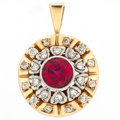 Estate Jewelry:Pendants and Lockets, Synthetic Ruby, Diamond, Gold Pendant. ...