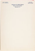 Political:Small Paper (1896-present), JFK as a Congressman: A Pad of His Personalized Stationery....