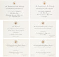 Political:Small Paper (1896-present), Engraved White House Invitations from the Kennedy Years....