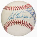 Baseball Collectibles:Balls, Gil Hodges and Joe DiMaggio Multi Signed Baseball....
