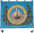 Political:Textile Display (pre-1896), Stunning Hand-painted 1876 Centennial Silk Banner for Salem,Massachusetts....