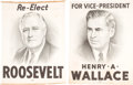 Political:3D & Other Display (1896-present), Roosevelt & Wallace: Canvas Banners.... (Total: 2 Items)