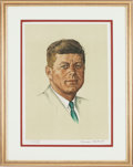 "Autographs:Artists, Norman Rockwell Artist's Proof of his ""Portrait of John F. Kennedy""Signed by the Artist...."