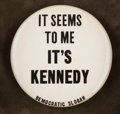 """Political:Ribbons & Badges, """"It Seems To Me It's Kennedy Democratic Slogan"""" Button Framed...."""