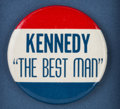 "Political:Pinback Buttons (1896-present), ""Kennedy 'The Best Man'"" Badge Framed...."
