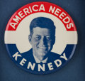 "Political, ""America Needs Kennedy"": A Rare 3 ½-inch 1960 Campaign Button...."