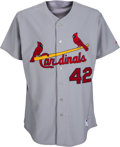 Baseball Collectibles:Uniforms, 2011 Albert Pujols Game Worn, Signed St. Louis Cardinals Jackie Robinson Day Jersey - Used in Two Home Run Performance. ...