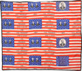 Political:Textile Display (pre-1896), Blaine & Logan: A Remarkable Quilt Composed of Eight Silk 1884Jugate Campaign Flags,...