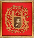 Political:3D & Other Display (pre-1896), Ulysses S. Grant: A Unique Hand-made Victorian Openwork Wood Framed for a Cabinet Photo....