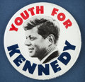 "Political, Classic ""Youth for Kennedy"" 4-inch 1960 Campaign Button...."