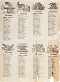 Political:Small Paper (pre-1896), Fremont and Fillmore: A Rare Uncut Sheet of Electoral Tickets....