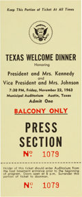 Political:Small Paper (1896-present), John F. Kennedy: Texas Welcome Dinner Press Ticket....