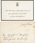 Political:Memorial (1800-present), [John F. Kennedy]: First Lady Sympathy Card and Envelope. ...