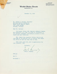 [John F. Kennedy]. John F. Kennedy Statement on Civil Rights and Race Relations with an Autopen Signature