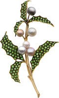 Estate Jewelry:Brooches - Pins, Demantoid Garnet, Cultured Pearl, Gold Brooch. ...
