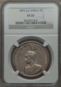 German East Africa, German East Africa: German Colony. Wilhelm II 2 Rupien 1893 VF35NGC,...
