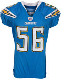 Football Collectibles:Uniforms, 2007 Shawn Merriman Game Worn Unwashed San Diego Chargers Throwback Jersey - Worn 10/14 Vs. Oakland....