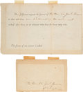 Political:Small Paper (pre-1896), Thomas Jefferson: Dinner Invitation and Envelope....